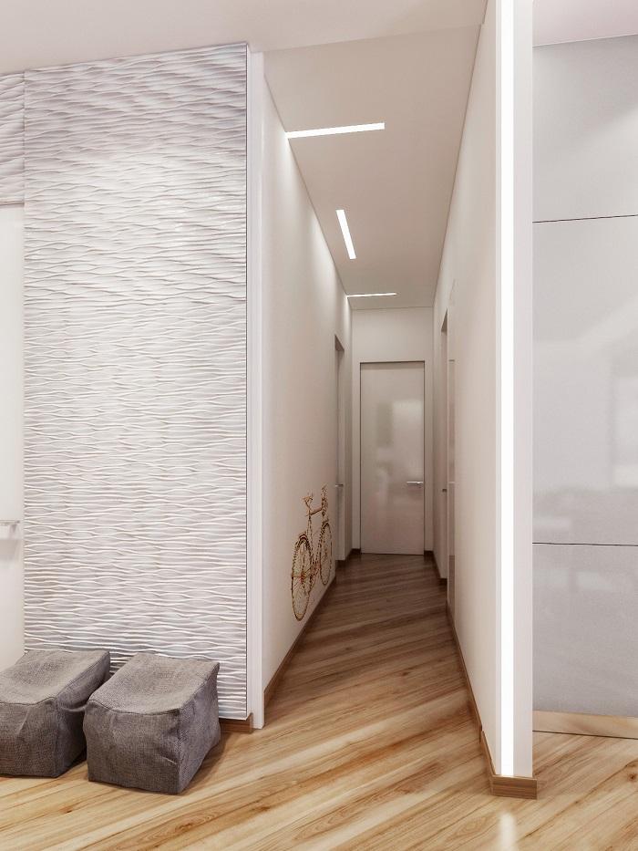 corridoio-moderno-stretto-lungo-pareti-bianche-decorata-sticker-bicicletta-pavimento-parquet