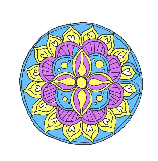 cosa-fare-quanto-si-annioia-lavoretti-creativi-colorare-mandala-colori-giallo-blu-viola-idea-fai-da-te-tempo-libero