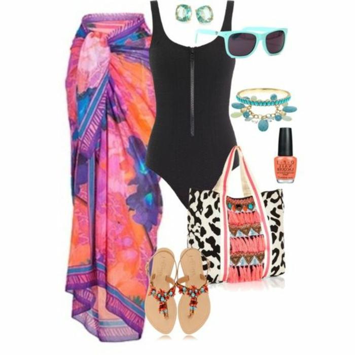 costume-da-bagno-donna-pareo-flip-flop-brillantini-braccialetto-occhiali-da-sole-borsa-da-spiaggia