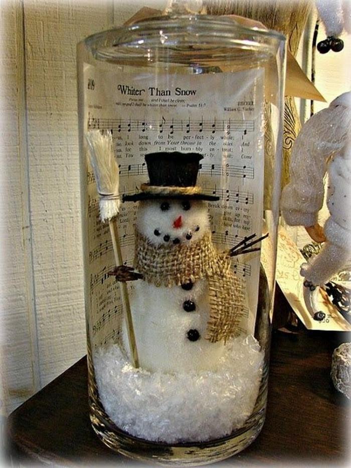 decorare-barattoli-di-vetro-idea-creativa-fai-da-te-natale-pupazzo-neve-sciarpa-oro-cappello-nero