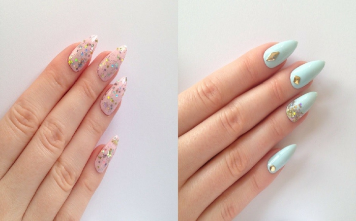 decorazione-unghie-due-varianti-colore-azzurro-smalto-glitterato-trasparente-forma-unghia-stiletto