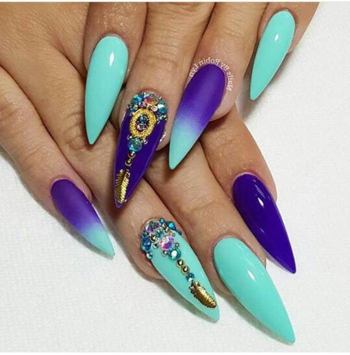 decorazione-unghie-stiletto-diversi-colori-azzurro-blu-accent-nail-art-brillantini
