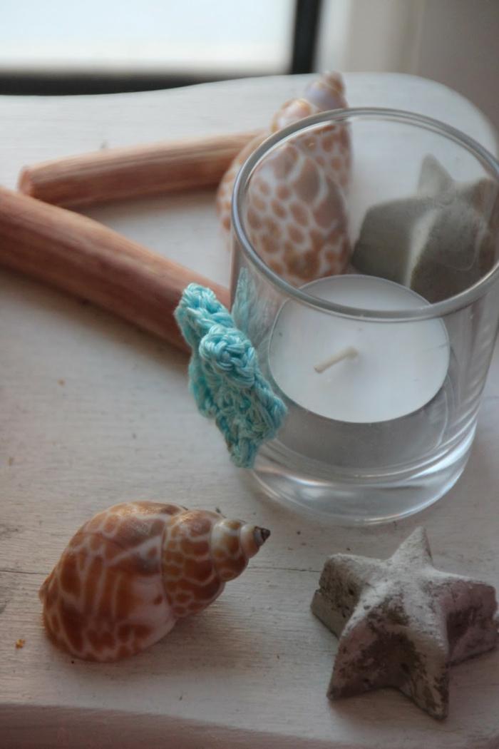 decorazioni-fai-da-te-portacandele-vetro-stella-marina-azzurra-uncinetto-conchiglia-idea-addobbi