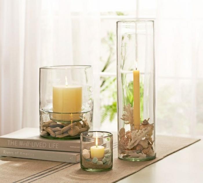decorazioni-marine-portacandele-fai-da-te-barattolo-vetro-varia-dimensione-candele-fondo-sassi-mare-pezzettini-legno-secco