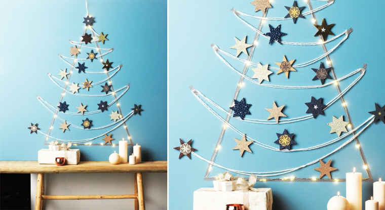 1001 idee per alberi di natale originali tutorial fai for Decorazioni muro