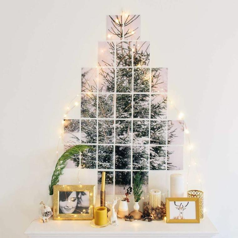 Foto collage di un albero di Natale per decorare le pareti, decorazioni con candele e cornici con immagini della famiglia