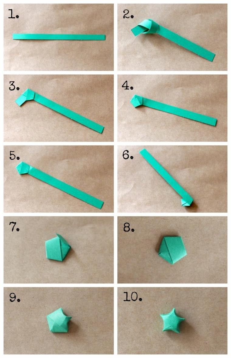 i vari passaggi per creare delle stelline tridimensionali a partire da una striscia di cartone