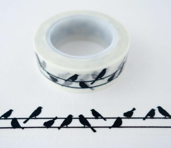 decorazioni-per-disegni-nastro-adesivo-decorativo-uccelli-neri-sfondo-bianco-decorare-diario-di-viaggio