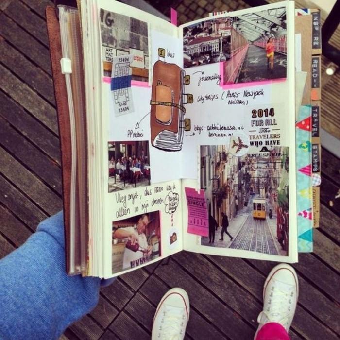 diari-di-viaggio-idea-bricolage-creativo-biglietti-foto-collage-disegni-a-matita-nastro-adesivo-colorato