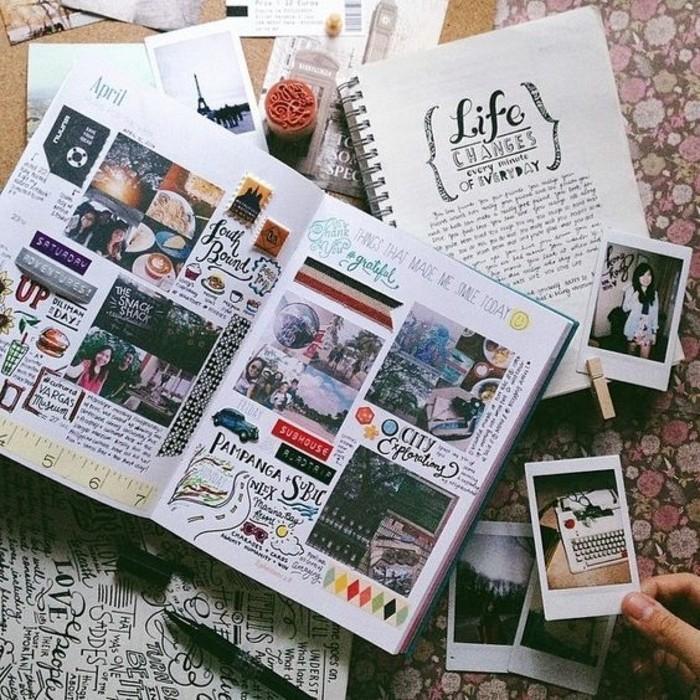diario-di-viaggio-foto-collage-foto-idee-disegni-colorati-persone-scrivere-quaderno-molletta-legno
