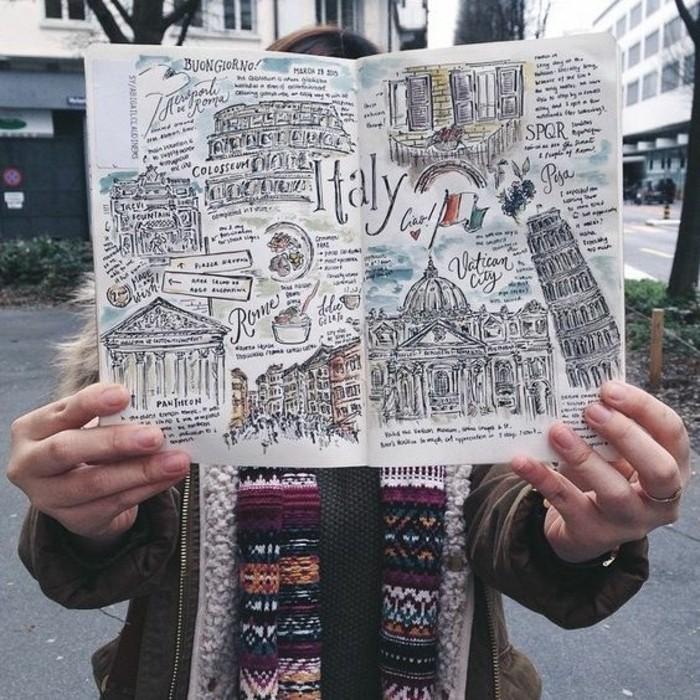 disegni-a-matita-diario-viaggi-monumenti-famosi-Italia-idea-decorazione-disegno-fai-da-te