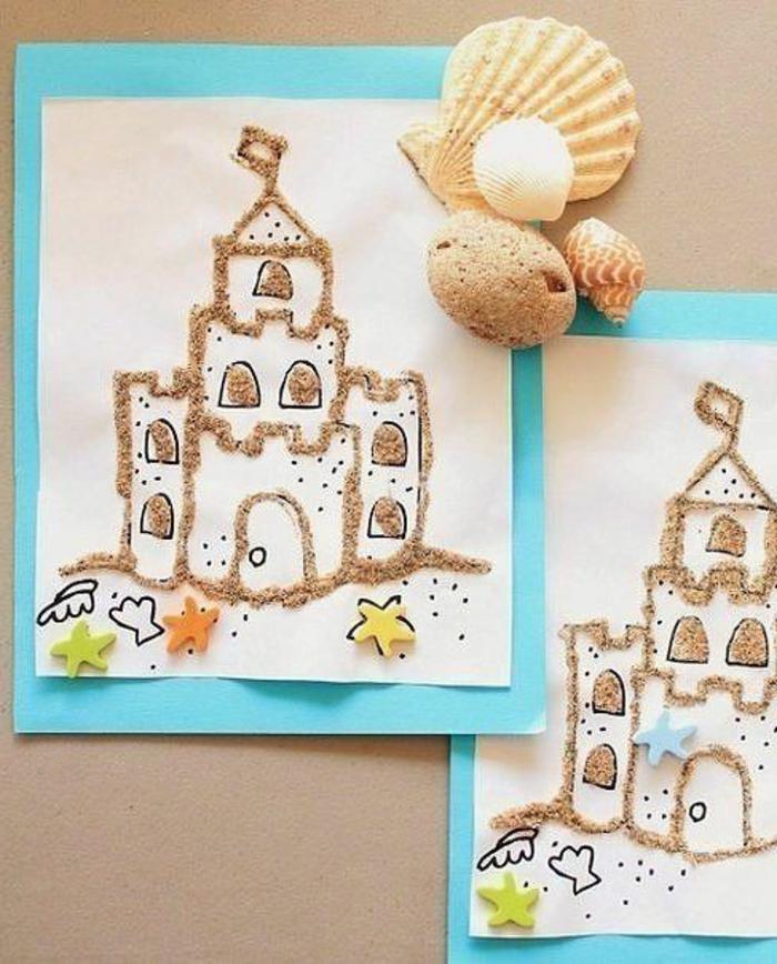 disegni-bambini-castello-sabbia-decorare-conchiglie-sassolini-idea-fai-da-te-addobbare-estate