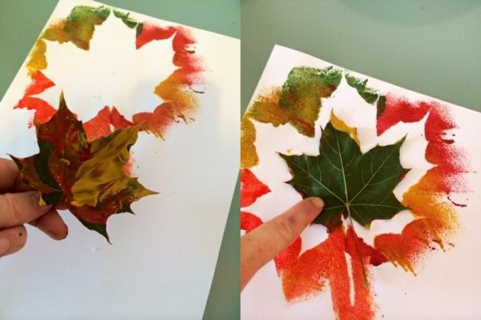 disegni-realizzati-aiuto-foglie-coperte-pittura-incollate-foglio-carta-bianco