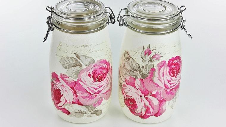 due barattoli di vetro decorati con decoupage contenitore con chiusura ermetica