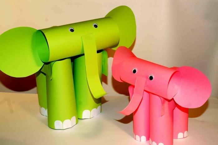 elefantini-colorati-rosa-verde-realizzati-cartoncini-zampe-dipinte-bianco-occhi-mobili-proboscide