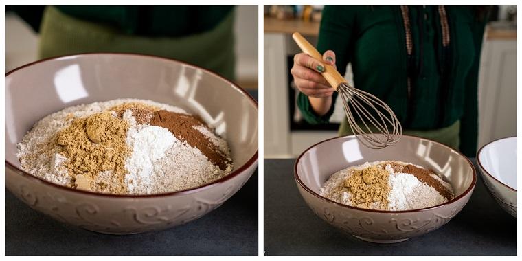 Ciotola con farina integrale e cannella, biscotti di natale decorati, mestolo per mischiare gli ingredienti