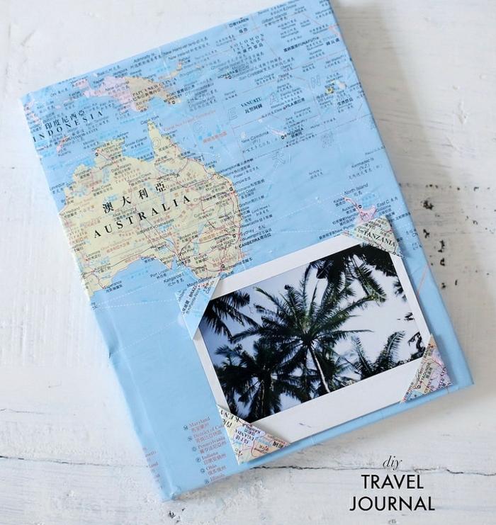 festa-del-babbo-idea-regalo-fai-da-te-bambini-diario-di-viaggio-decorato-carta-diseganta-mappamondo-immagine-foto-vacanza