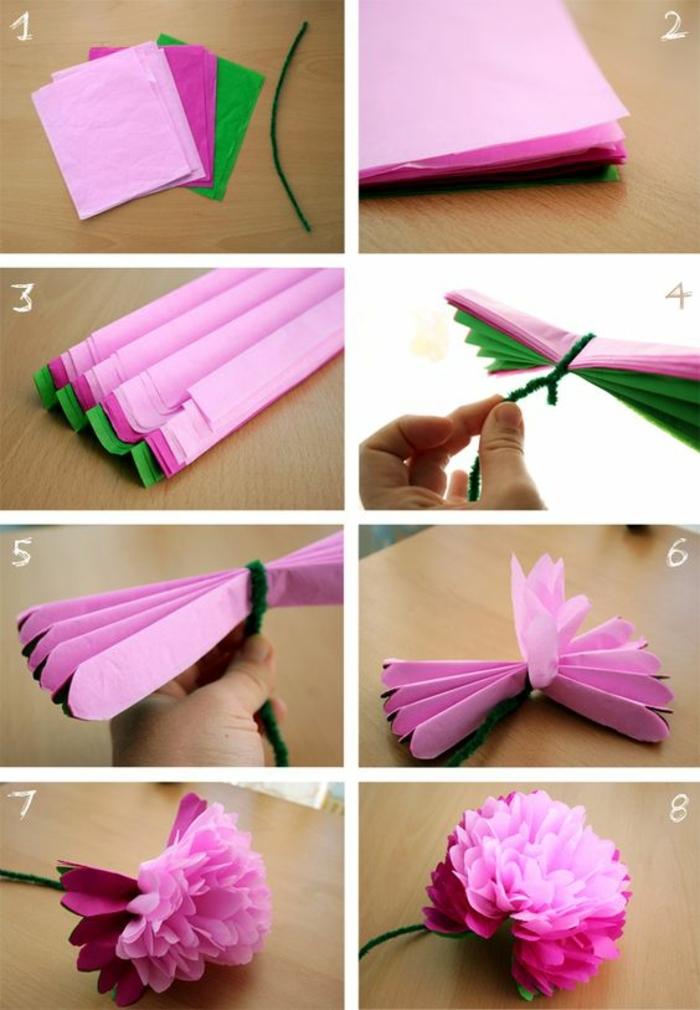 fiore-fai-da-te-carta-crespa-realizzazione-passo-per-passo-colori-rosa-viola-verde-metodo-lavorazione