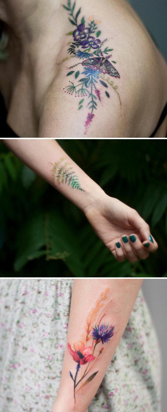 fiore-tattoo-tre-idee-colorate-graziose-diversi-punti-corpo