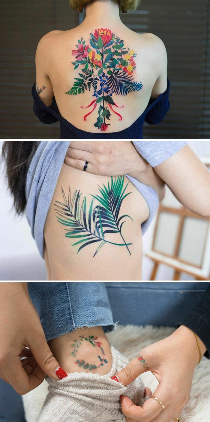 fiori-tattoo-tre-proposte-colorate-varie-dimensioni-diversi-punti-corpo