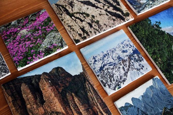 foto-collage-idea-regalo-festa-papà-immagini-montagne-nevose-paessaggio-foreste-decorazione-parate-camera-da-letto