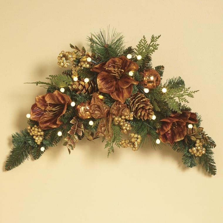 ghirlande natalizie, una proposta dalla forma insolita nei colori del bronzo e dell'oro