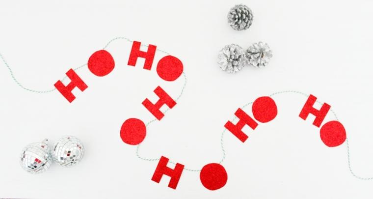 ghirlande natalizie fatte a mano, una proposta tutta da personalizzare con delle lettere e delle palline argento