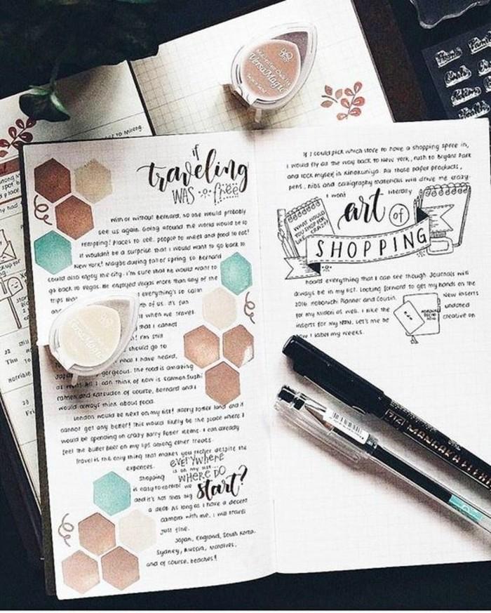 idea-decorazione-diario-quaderno-viaggio-penna-colori-scritte-disegni-a-matita-lavoretti-creativi