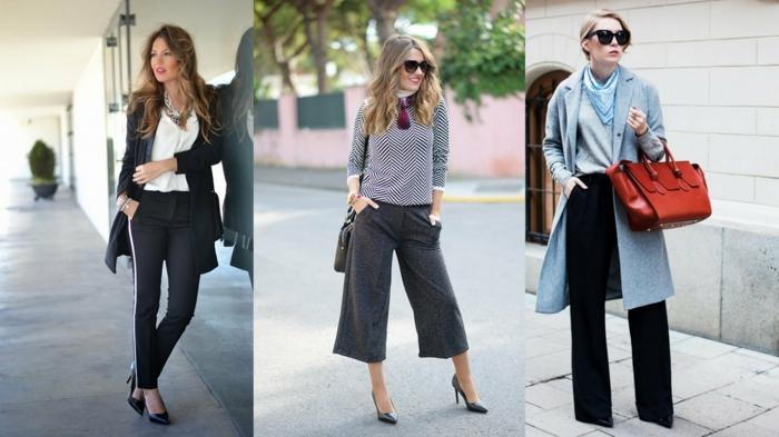 idee-abbigliamento-donna-pantaloni-larghi-lunghezza-caviglia-cappotto-trench-accessori-borse-scarpe