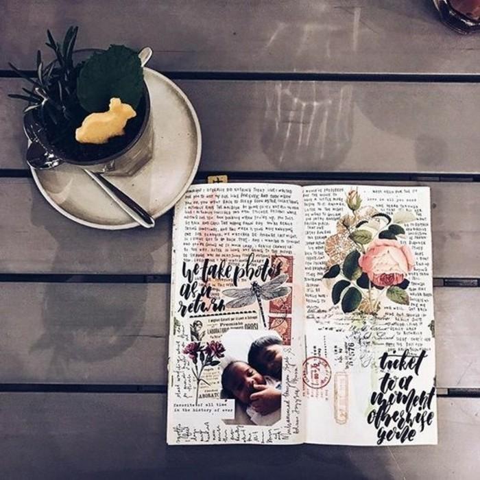 idee-decorazioni-diario-quaderno-viaggio-collage-foto-scritte-memorie-erbario-stile-vintage