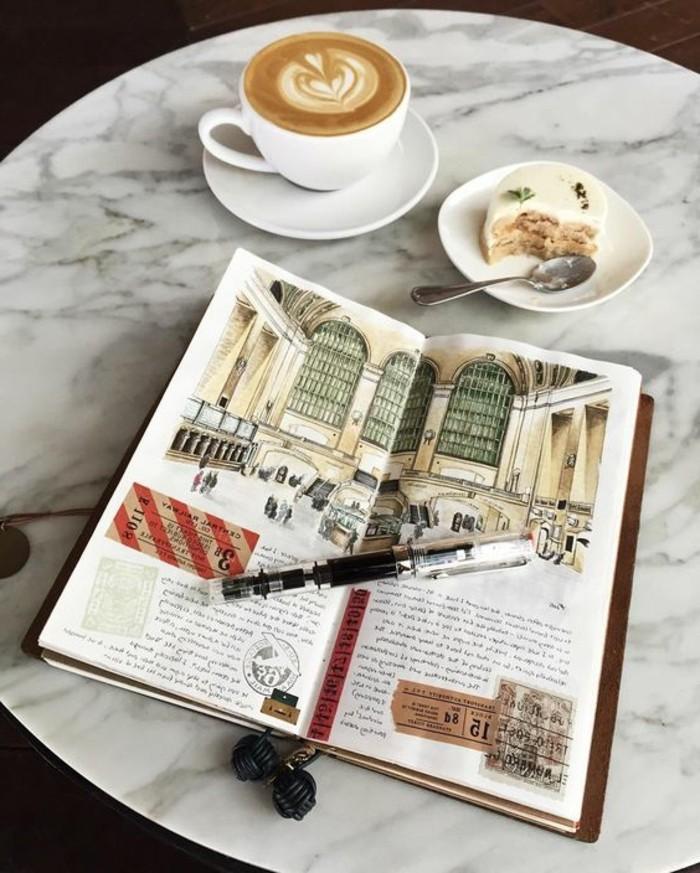 idee-disegni-a-matita-diario-scritte-cappuccino-decorato-cuore-pezzo-torta-colazione
