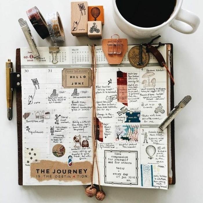 idee-disegno-a-matita-diario-viaggio-nastro-adesivo-penne-matite-tazza-caffè