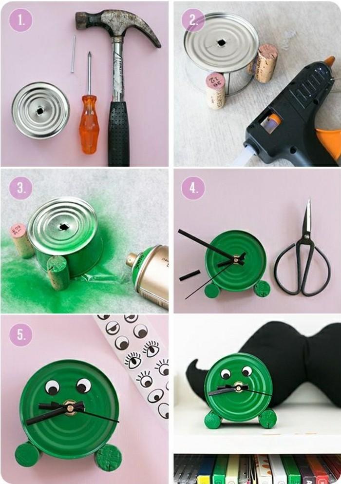 idee-fai-da-te-barattolo-latta-verniciato-colore-verde-forma-orologio-occhi-tappi-sughero-vino-piedini