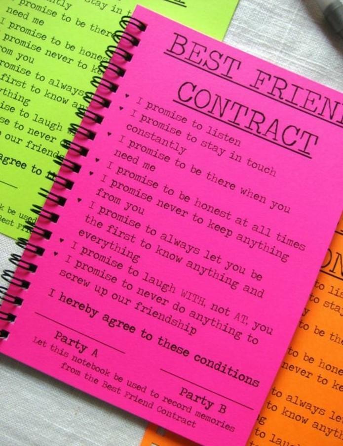idee-regalo-per-migliore-amica-quaderni-spirale-colorato-contratto-di-migliore-amica