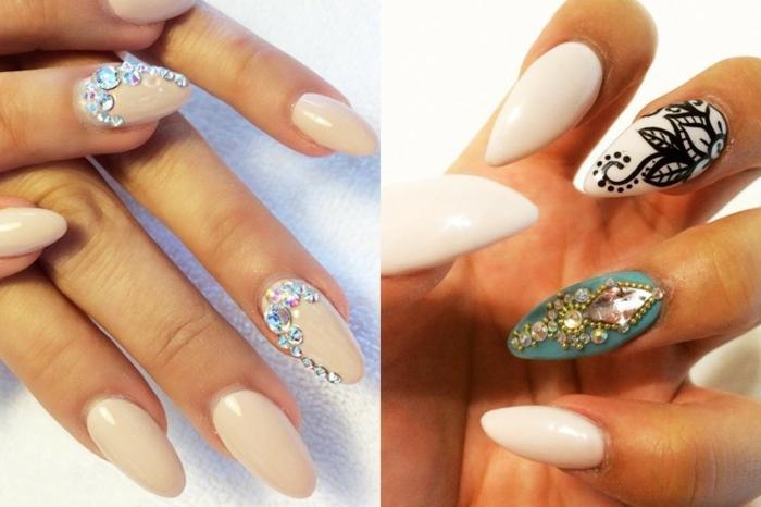 immagini-di-unghie-decorate-forma-mandorla-stiletto-accent-nail-colore-blu-beige-nero-brillantini