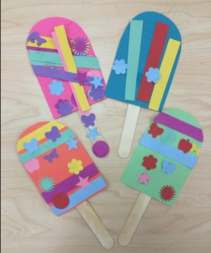 lavoretti-creativi-per-bambini-ghiaccioli-realizzati-cartoncini-colorati-fiori-farfalle-decorazioni-bastoncino-legno