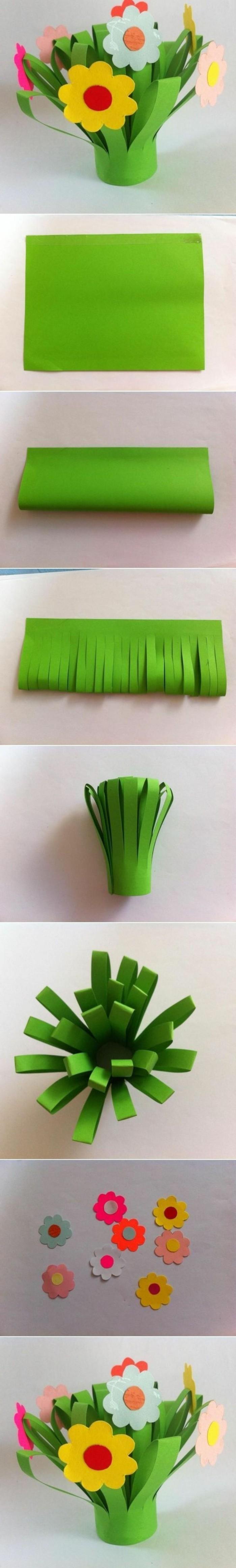 lavoretti-da-fare-con-i-bambini-idea-come-fabbricare-bouquet-di-fiori-carta-colorata-tecnica-bricolage
