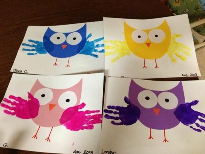 lavoretti-facili-per-bambini-gufo-colorato-grandi-occhi-ali-realizzate-impronta-mani