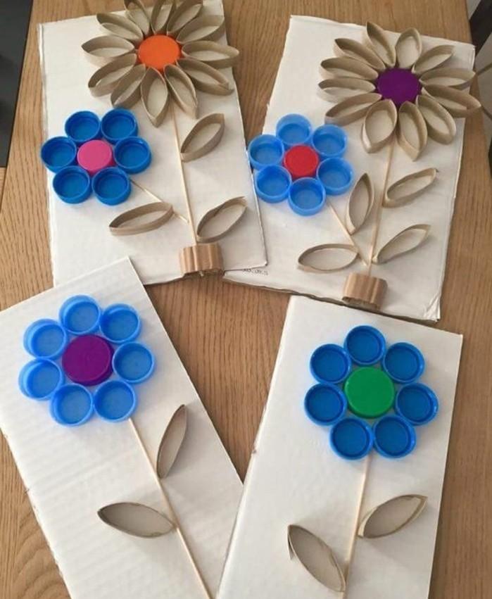 lavoretti-per-bimbi-fiori-colorati-fabbricati-rotoli-carta-igienica-tappi-bottiglia-idea-creativa-originale