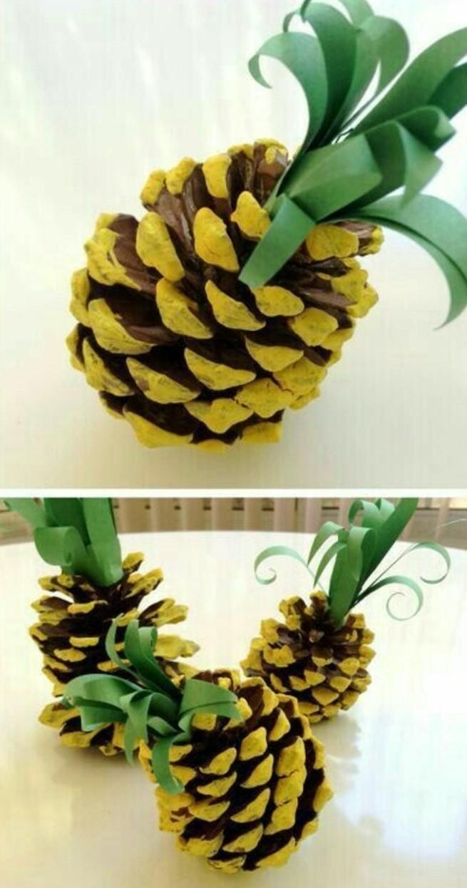 lavoretti-semplici-per-bambini-pigna-trasformata-ananas-tempera-gialla-cartoncino-verde