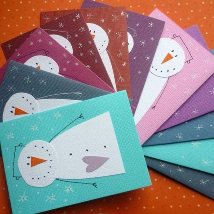 lavoretti-semplici-per-bambini-pupazzi-neve-naso-arancione-cuore-viola-incollati-cartoncini-colori-diversi