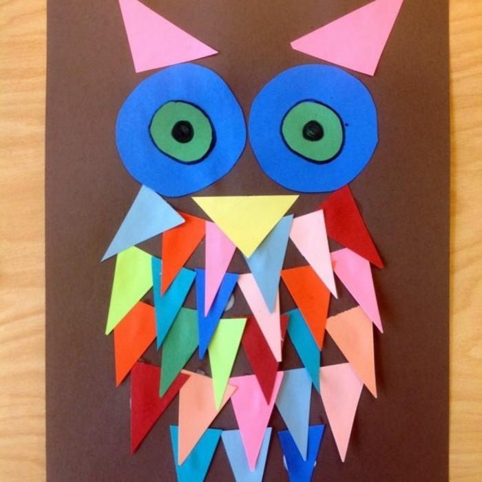 lavoretto-per-bambini-gufo-realizzato-triangoli-carta-colorati-corpo-becco-orecchio-tondi-occhi