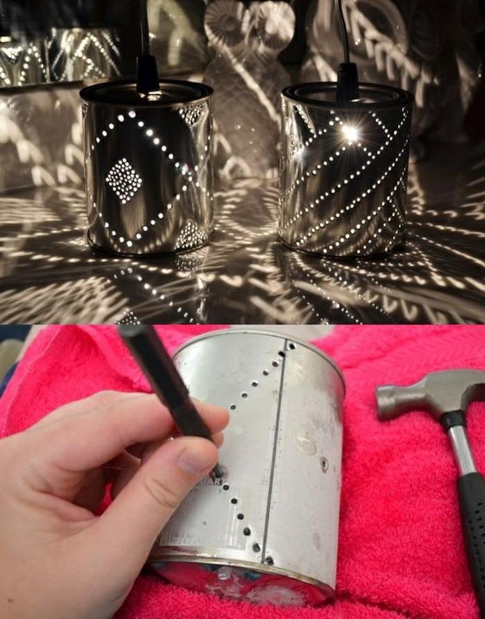 lavori-creativi-fai-da-te-lanterna-barattolo-latta-fori-chiodo-martello-vernice-colore-nero-lucine-elettriche