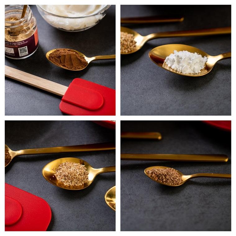 Ingredienti in cucchiai, ricetta biscotti natalizi, barattolo con zenzero in polvere