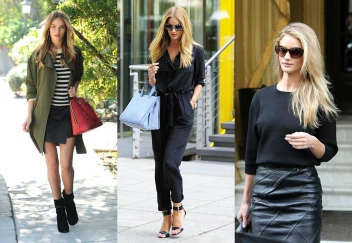 look-autunnali-donna-proposte-abbigliamento-tonalità-colore-nero-gonna-pelle-camicia-nera-accessori-borse-occhiali-da-sole