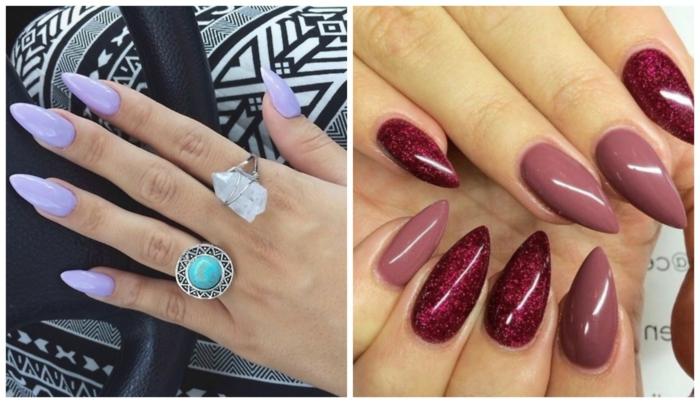 nail-art-ugnhie-a-punta-colori-diversi-tonalità-calde-bordeaux-glitter-viola-chiaro-luminoso