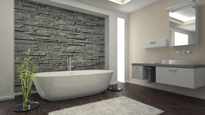 1001 idee per il bagno senza piastrelle molto creative - Piastrelle pietra bagno ...