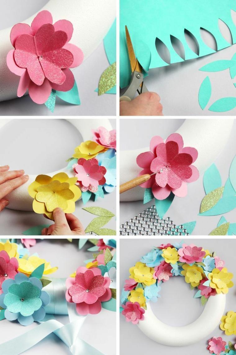 passo dopo passo come realizzare una ghirlanda di natale con dei fiori di carta colorati