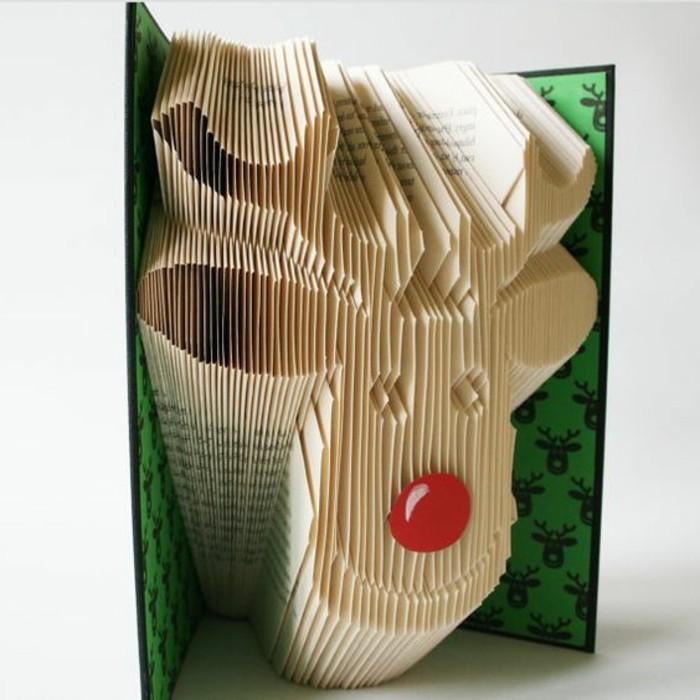piegare-pagine-libro-realizzare-figure-uniche-originali-renna-decorata-naso-rosso