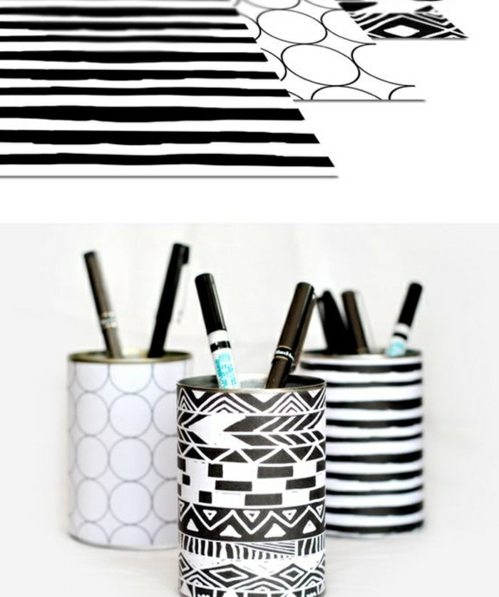 portaoggetti-fai-da-te-barattoli-latta-decorati-carta-bianco-nera-portapenne-fai-da-te